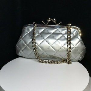 Candie's New Silver Quilted Vinyl Clutch Purse
